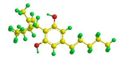 Abstract molecular structure of Cannabidiol (CBD) - one of at least 85 active cannabinoids identified in cannabis