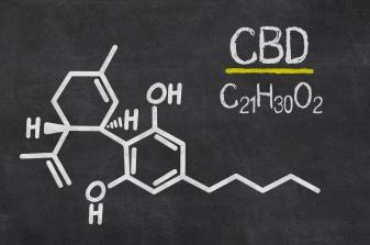 Schiefertafel mit der chemischen Formel von CBD